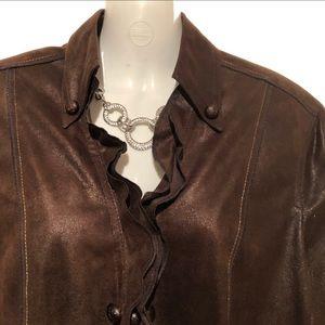 (12) VEX Stylish brown blazer w/ ruffle EUC !!!